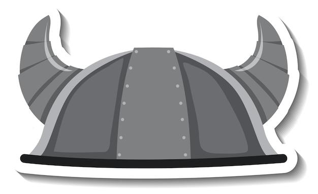 Рыцарский шлем с рогом мультяшный стикер