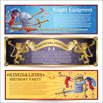 Knight horizontal banners set