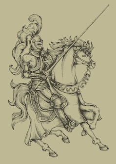 Knight horse engraving coat of arms heraldry