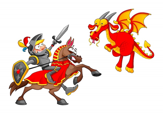 Knight on horse fighting the dragon