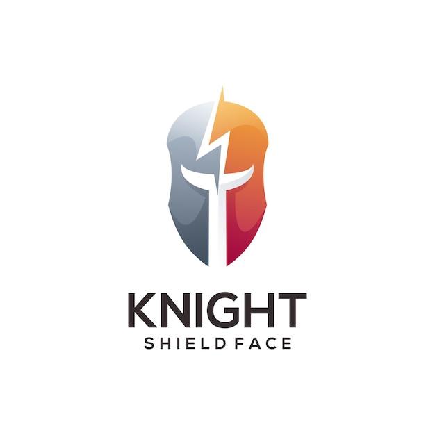 騎士のロゴのグラデーションの抽象的なイラスト