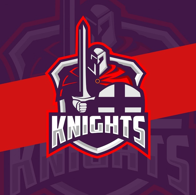 Knight mascot esport logo design