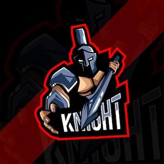 Рыцарь талисман логотип киберспорт дизайн шаблона