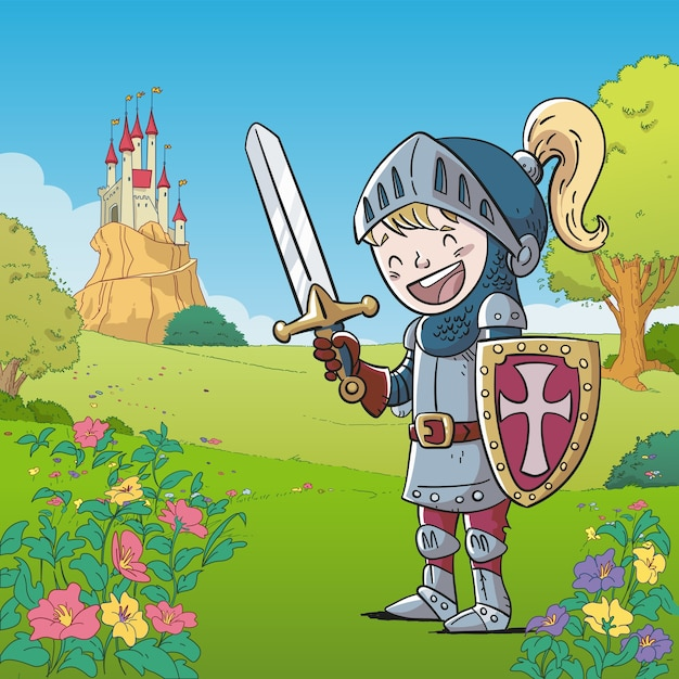 Knight in medieval armor with a castle