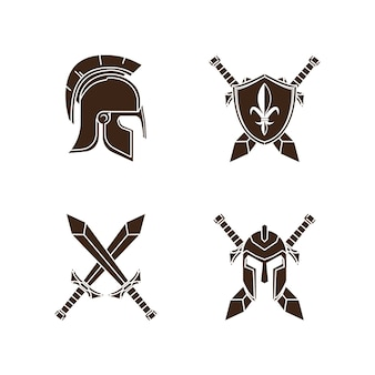 Knight medieval history vector icons set