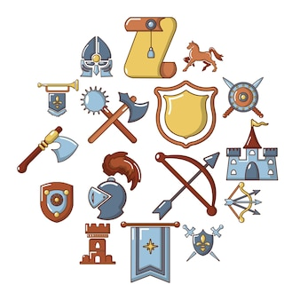 Knight medieval icon set, cartoon style