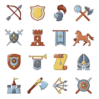 Knight medieval icons set