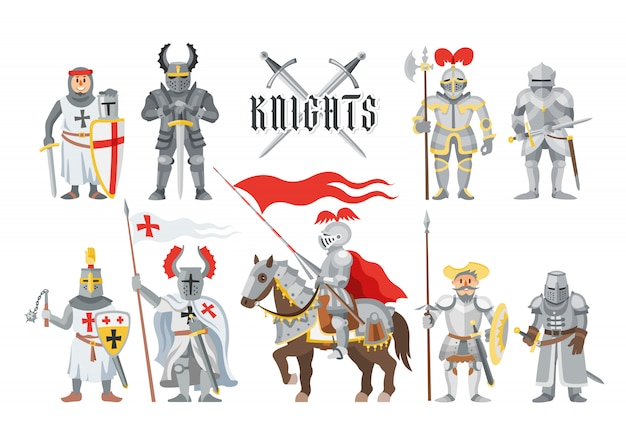 Knight  medieval knighthood and knightly character people with helmet armor and knightage sword illustration set of chivalry man on horse  on white background