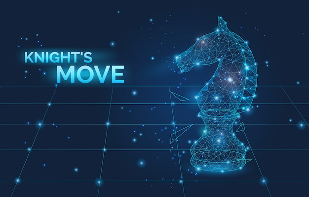 Knight move sign and low poly chess horse