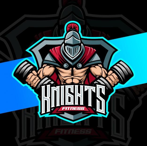 騎士の筋肉トレーニングフィットネスマスコットesportロゴ