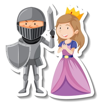 Adesivo cartone animato cavaliere e principessa