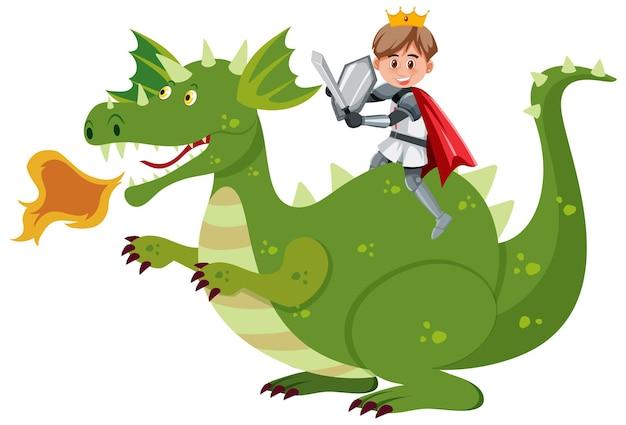 Рыцарь верхом на драконе на белом фоне