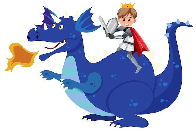 Knight riding dragon on white background
