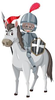 Рыцарь верхом на лошади мультипликационный персонаж на белом фоне