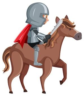 白い背景の上の騎士の乗馬の漫画のキャラクター
