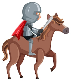 Knight riding horse cartoon character on white background
