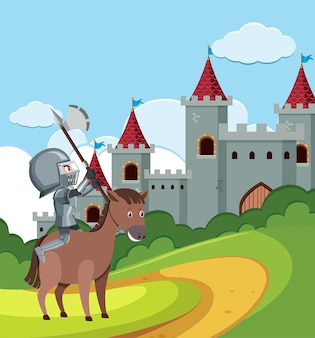 Knight riding horse in front of castle