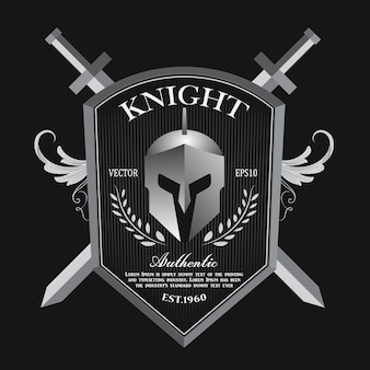 Knight shield and helmet vintage badge logo