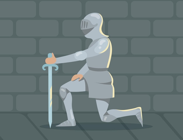 충성심으로 한쪽 무릎에 서있는 기사