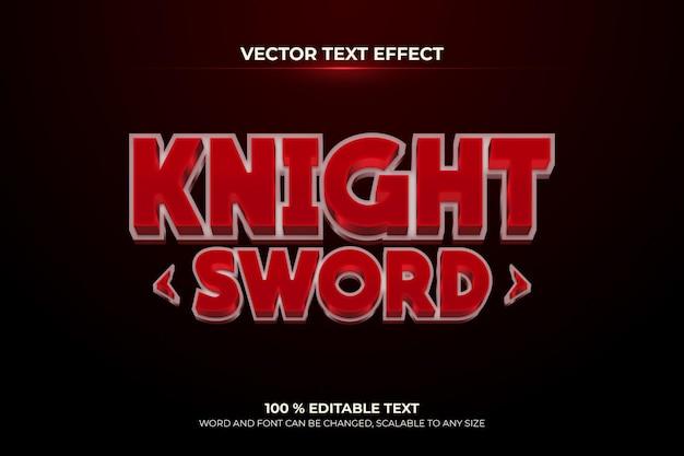 Рыцарь меч редактируемый 3d текстовый эффект темно-красный стиль фона