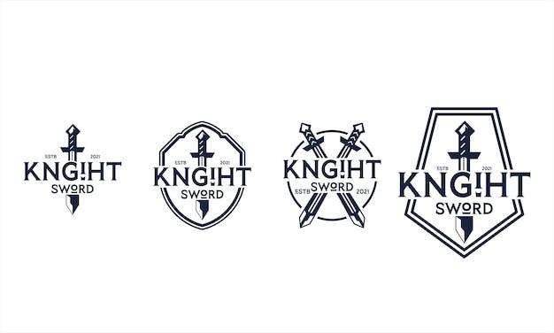 Набор логотипов рыцарского меча с несколькими вариантами различных шаблонов и стилей бесплатные векторы