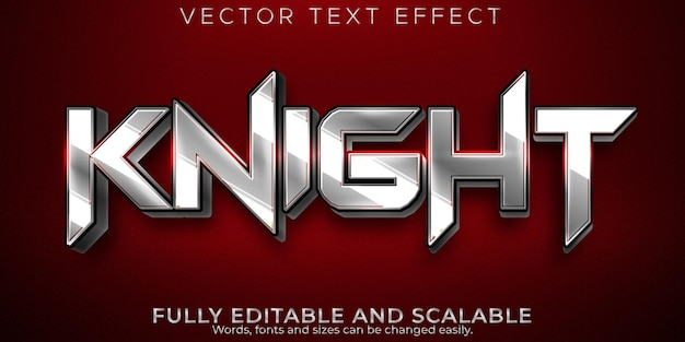 Knight text effect, editable metallic and shiny text style