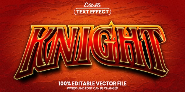 Knight text, font style editable text effect