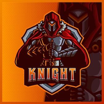 Рыцарь воин крыло талисман киберспорт дизайн логотипа иллюстрации векторный шаблон, логотип тигра для командной игры стример youtuber banner twitch discord