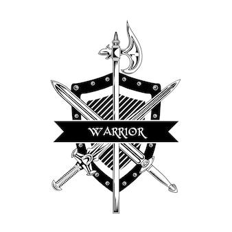 騎士の武器のベクトルイラスト。交差した剣、斧、盾、戦士のテキスト。エンブレムまたはバッジテンプレートのガードと保護の概念