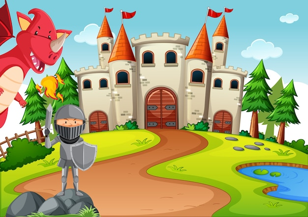 Knight with dragon in fairytale land scene
