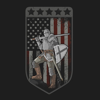 Knight with full armor sword and shield of american flag