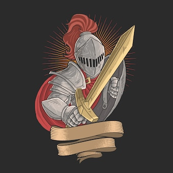 Knight with a golden sword
