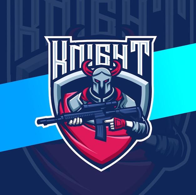 Рыцарь с оружием талисман киберспорт дизайн логотипа