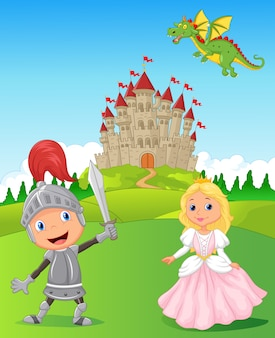 Knight with princess and dragon