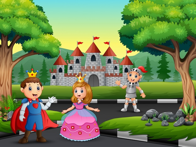 Knight with princess and prince on the road to the castle