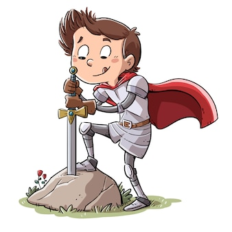 Knight with sword stuck in a rock
