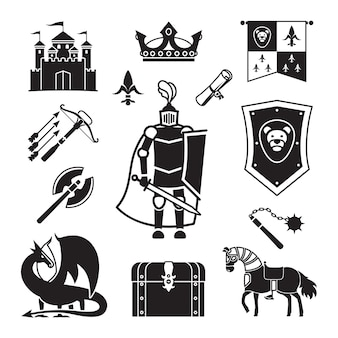 Knighthood in middle ages icons. medieval ancient armor and coat of arms, knight and helmet vector signs