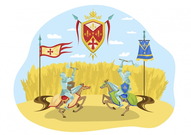 Knightly tournament, character riders horses fighting, royal competition, isolated on white, flat  illustration. chivalrous sign.