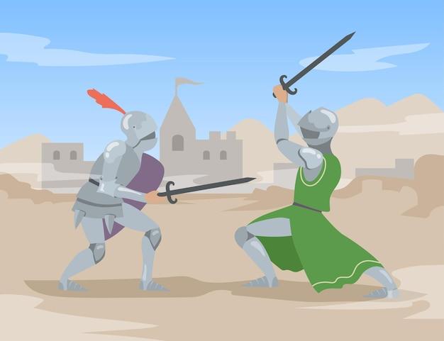 古代都市で剣との騎士の決闘。勇敢な中世のはんだは、重い鋼の鎧の戦いで男性の人々をはんだ付けします