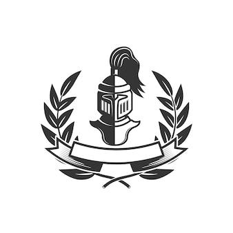 騎士。中世の騎士のヘルメットとエンブレムテンプレート。ロゴ、ラベル、エンブレム、記号の要素。図