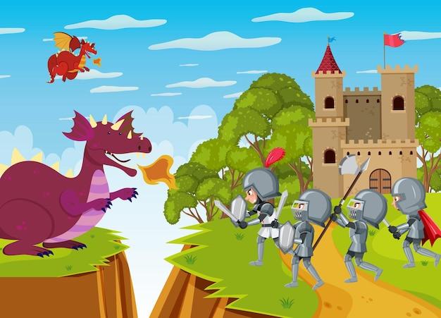 기사들은 성에서 용과 싸운다.