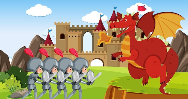 Knights fight with dragon at the castle Premium Vector