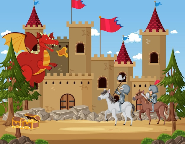 Knights fight with dragon at the castle