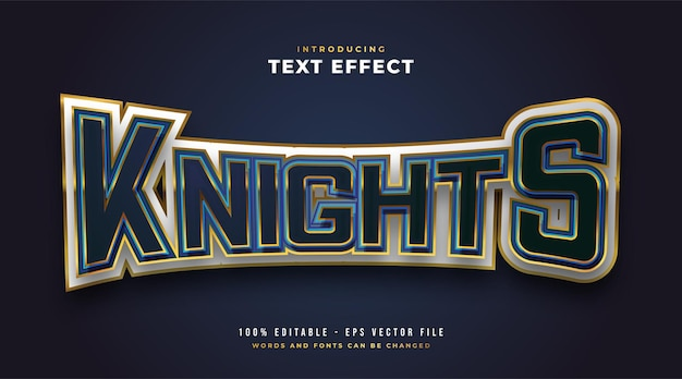 Knights text in e-sport style with curved and 3d embossed effect. editable text style effect
