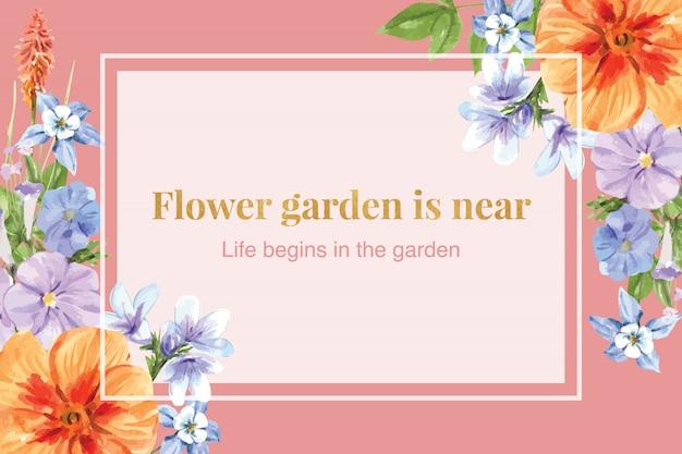 Kniphofia、オダマキの花の水彩イラストとフラワーガーデンフレーム。