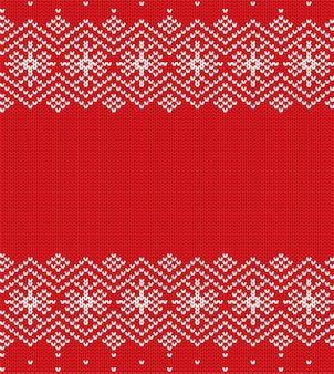 Knit christmas geometric ornament knitted winter red color sweater texture.