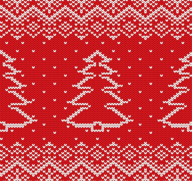 Knit christmas geometric ornament with fir-trees and snowflakes