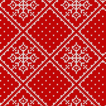 Knit christmas pattern. knitted seamless print. xmas background with snowflake.