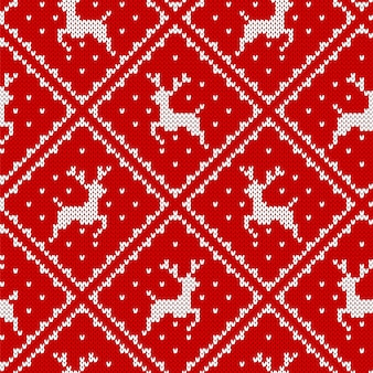 Knit christmas pattern. red seamless print.   illustration.