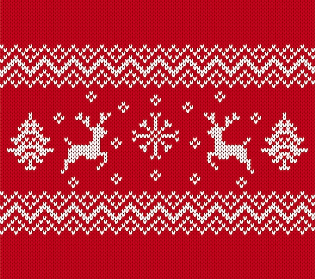 Knit christmas pattern. seamless texture with reindeers, trees.